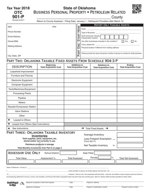 OTC Form OTC 901-P Download Fillable PDF 2018, Business