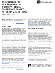 Instructions for the Requester of IRS Forms W-8ben, W-8ben-e, W-8eci, W-8exp, and W-8imy