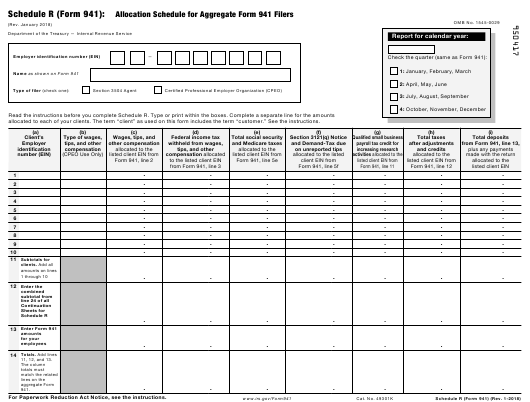IRS Form 941 Fillable Pdf