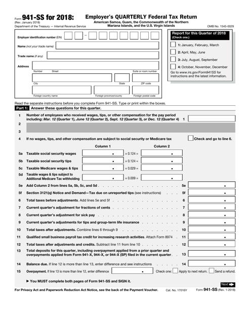 IRS Form 941-SS 2018 Printable Pdf