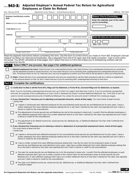 IRS Form 943-X  Printable Pdf