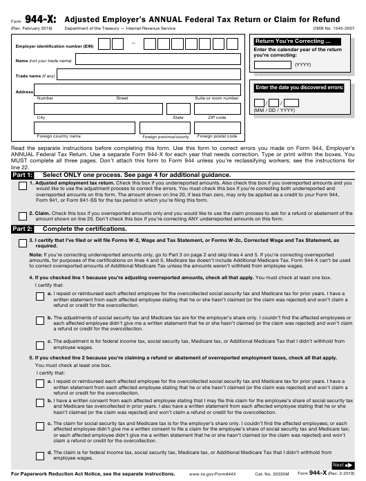 Irs Form 944 X Download Fillable Pdf Adjusted Employers Annual