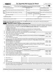 IRS Form 1040-C 2018 U.S. Departing Alien Income Tax Return