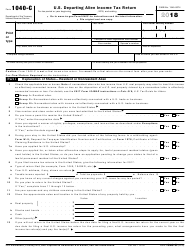 IRS Form 1040-C 2018 U.S. Departing Alien Income Tax Return