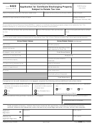 "IRS Form 4422 ""Application for Certificate Discharging Property Subject to Estate Tax Lien"""