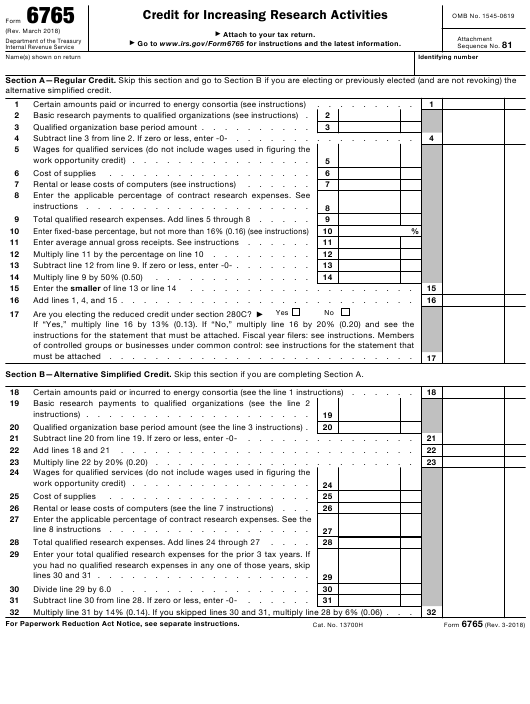 Irs Form 6765 Download Fillable Pdf Credit For Increasing Research
