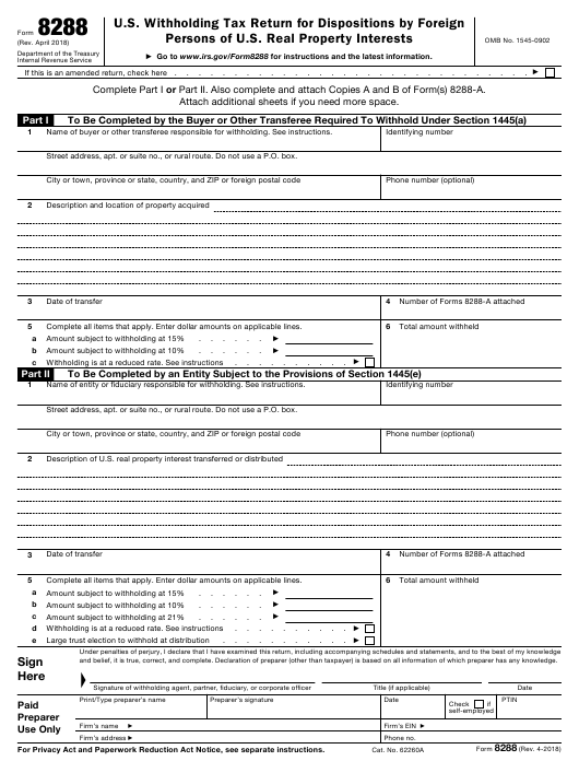 IRS Form 8288 Fillable Pdf