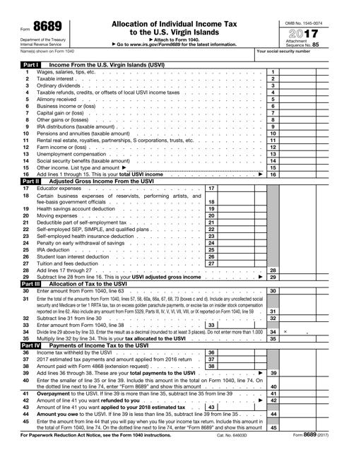 IRS Form 8689 2017 Fillable Pdf