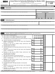 "IRS Form 8804 ""Annual Return for Partnership Withholding Tax (Section 1446)"", 2017"