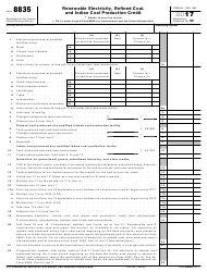 IRS Form 8835 2017 Renewable Electricity, Refined Coal, and Indian Coal Production Credit