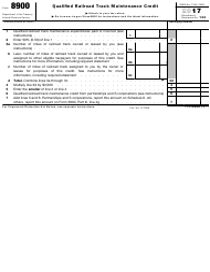 IRS Form 8900 2017 Qualified Railroad Track Maintenance Credit