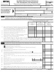 IRS Form 8915A 2017 Qualified 2016 Disaster Retirement Plan Distributions And Repayments