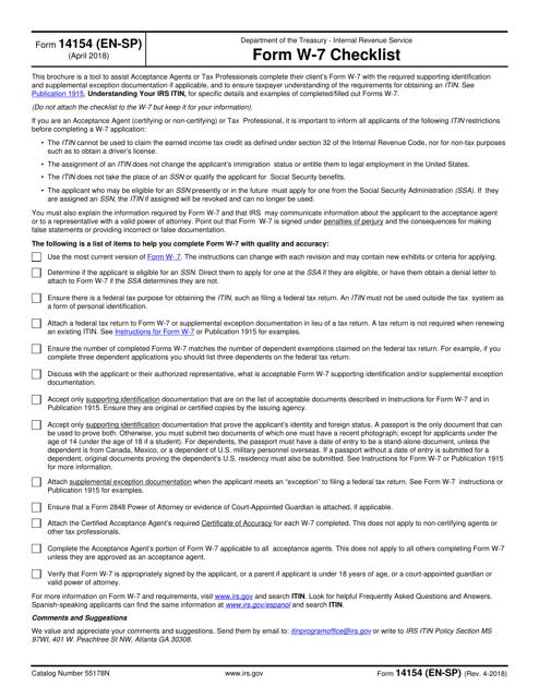 IRS Form 14154 (EN-SP) Printable Pdf