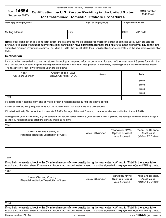 IRS Form 14654 Download Fillable PDF Or Fill Online