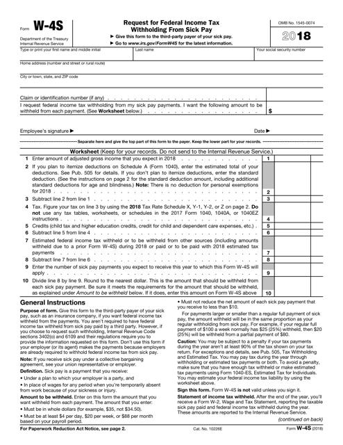 IRS Form W-4S 2018 Printable Pdf