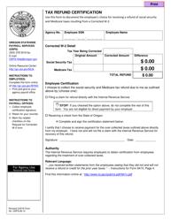"Form OSPS.99.13 ""Tax Refund Certification"" - Oregon"
