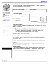 Form OSPS.99.13 Tax Refund Certification - Oregon