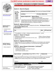 "Form OSPS.9904 ""W-2 Reprint/Reissued Statement Request"" - Oregon"