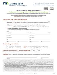 """Status Change to Active Request Form"" - Minnesota"