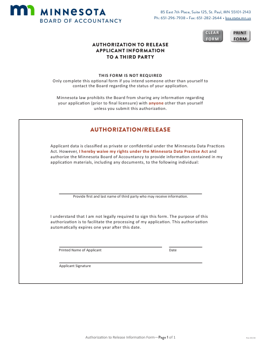 """""""Authorization to Release Applicant Information to a Third Party"""" - Minnesota Download Pdf"""