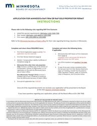 """Application for Minnesota Rap Firm Firm or Rap Sole Proprietor Permit"" - Minnesota"