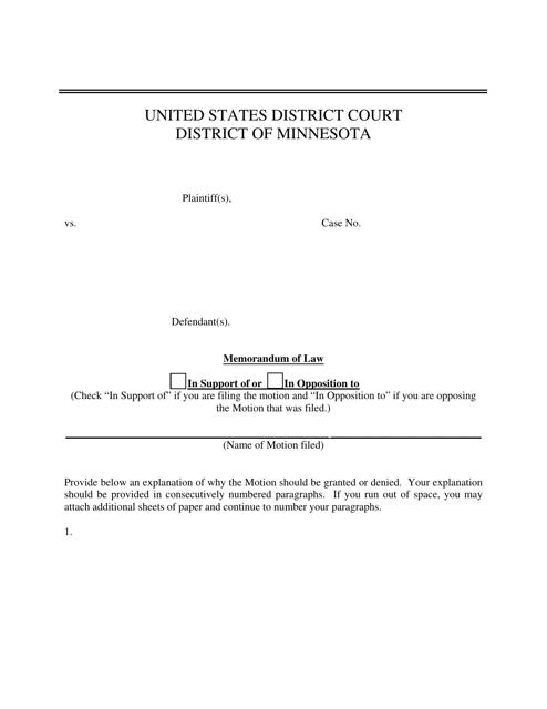 """Memorandum of Law"" - Minnesota Download Pdf"