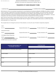 Form WIO-1075A Transfer of Funds Request Form - Arizona
