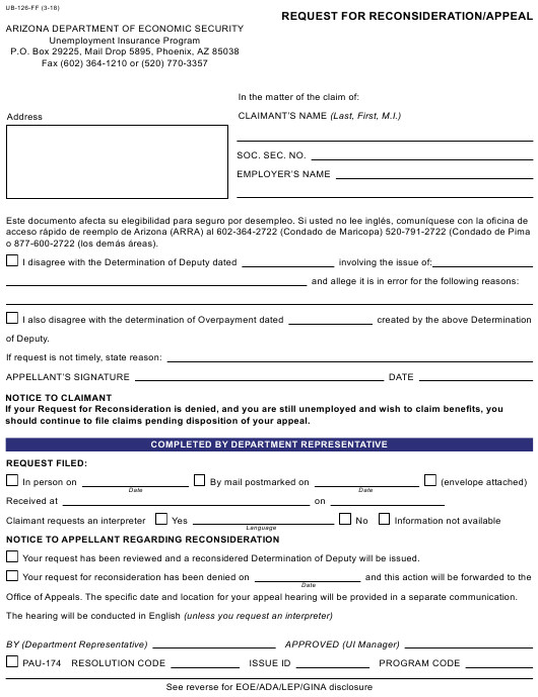 Form UB-126-FF  Printable Pdf
