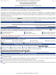 "Form DD-099C ""Pre-pas Screening Tool Only for Members Between 6 and 11 Years Old"" - Arizona"