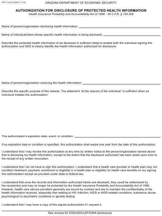 Form PPP-1127A FORFF  Printable Pdf