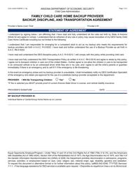 Form CCA-1234A FORPDF Family Child Care Home Backup Provider Backup, Discipline, And Transportation Agreement - Arizona