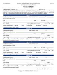 Form UB-130A FORFF Work History - Arizona