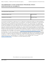 "Form EFA7 ""The Emergency Food Assistance Program (Tefap) Certification of Eligibility"" - California"