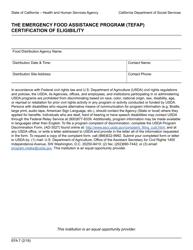 "Form EFA7 ""The Emergency Food Assistance Program (Tefap) Certification of Eligibility"" - California"