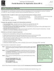 """Instructions for Form DR-1 """"Florida Business Tax Application"""" - Florida"""