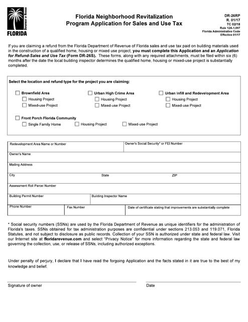 Form DR26RP  Printable Pdf