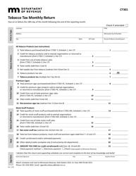 "Form CT301 ""Tobacco Tax Monthly Return"" - Minnesota"