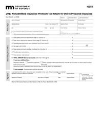"Form IG255 ""Nonadmitted Insurance Premium Tax Return for Direct Procured Insurance"" - Minnesota, 2017"