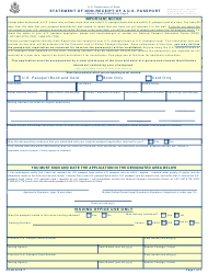 "Form DS-86 ""Statement of Non-receipt of a U.S. Passport"""