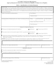 OPM Form SF-62 Agency Request to Pass Over a Preference Eligible or Object to an Eligible