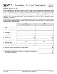"Form CCGP-1 ""Conceal Carry Gun Permit Training Credit"" - West Virginia"
