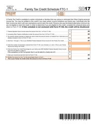 Form IT-140 2017 Schedule Ftc-1 - Family Tax Credit Schedule Ftc-1 - West Virginia