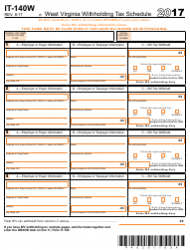 Form IT-140W 2017 West Virginia Withholding Tax Schedule - West Virginia