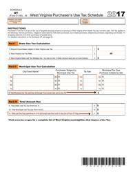 Form IT-140 2017 Schedule Ut - West Virginia Purchaser's Use Tax Schedule - West Virginia