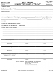 Form SEV-WAIVER Request for Waiver of Penalty - West Virginia