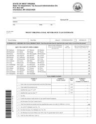 Form WV/SEV-400c Coal Severance Tax Estimate - West Virginia
