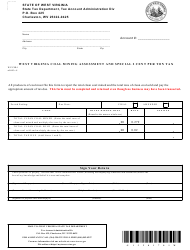 Form WV/CSR-1 West Virginia Coal Mining Assessment and Special 2 Cent Per Ton Tax - West Virginia