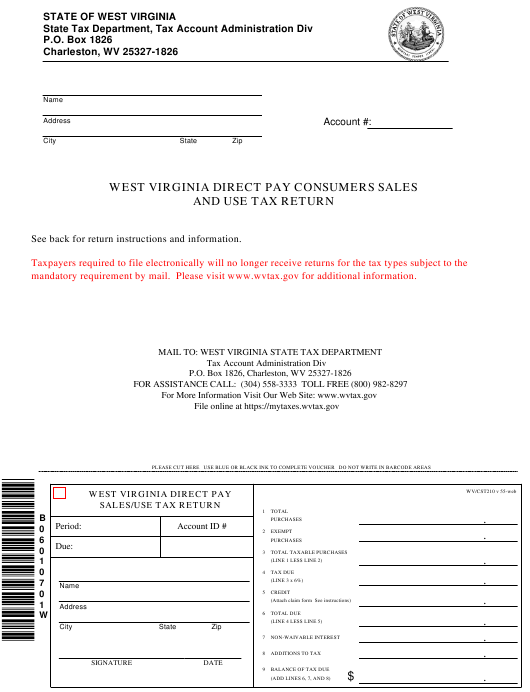 Virginia State Sales Tax >> Form Wv Cst 210 Download Printable Pdf West Virginia Direct