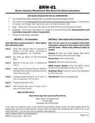 "Instructions for Form BRW-01 ""Brewer/Importer/Manufacturer Beer Barrel Tax Return"" - West Virginia"