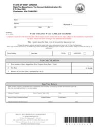 Form WV/WNE-01 West Virginia Wine Supplier's Report - West Virginia